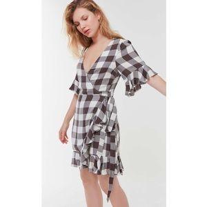 UO Frankie Ruffle Plaid Wrap Dress